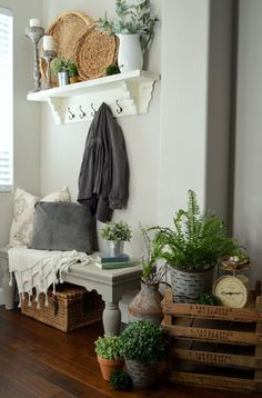 A Pretty Spring Entryway with Vintage Touches from HomeRemediesRx.com