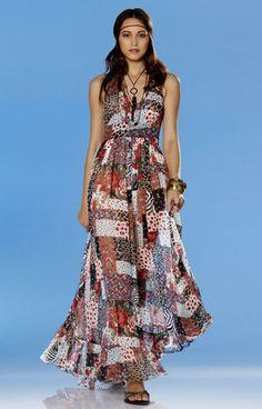 burda style, Schnittmuster - langes, rückenfreies Gipsykleid mit Saumrüsche.