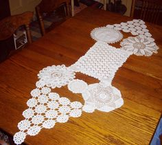 Vintage Crocheted Doily Runner Triangle Handstitched Easter Table Decor