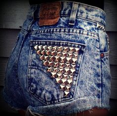 High wasted studded