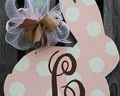 EASTER Bunny Rabbit Personalized Monogrammed LARGE Handpainted Door Hanger Door Decor - You Choose Background Color!