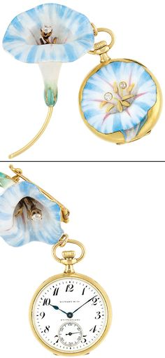 Art Nouveau Gold, Platinum, Enamel and Diamond Flower Lapel Watch, Tiffany & Co., circa 1900.  18 kt., the lapel orchid brooch applied with blue and white enamel, centering one old European-cut diamond, supported by a gold stem, the watch hanging from gold links centering a circular white dial, the reverse applied with similar enamel motif, centering a yellow enamel flower, accented by 2 old European-cut diamonds.  Via Doyle New York.