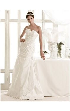 Charming A-line Strapless Sweep/ Brush Train Taffeta Wedding Dress