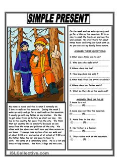 Reading Present Simple Worksheet and Simple Present Reading Comprehension Text - English Esl Comprehension Exercises, Reading Comprehension Activities, Reading Worksheets, Printable Worksheets, Teaching English Grammar, English Vocabulary, English Lessons, Learn English, Simple Present Tense