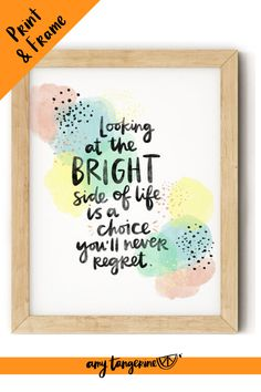 Download and print this inspirational watercolor quote from Amy Tangerine. This colorful hand lettered quote would make beautiful colorful wall art for your home office or craft room or any where in your home! positive quotes | watercolor quotes | hand lettering quote #amytangerine #quotes #printables #watercolor Hand Lettering Quotes, Creative Lettering, Tangerine Quotes, Printing Services, Online Printing, Rainbow Quote, Watercolor Quote, Colorful Wall Art, Printable Stickers