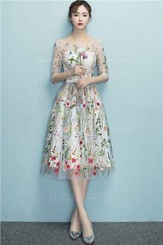 e3fb421ada7f A-Line Princess Scoop Tea-length Lace Prom Dress Βραδινά Φορέματα