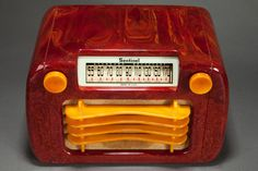 """Sentinel 284NR """"Wavy Grill"""" Catalin Radio in Oxblood Red and Butterscotch 