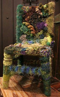 by Cuniculus Crochet art: free-form fiber chair, wow! by Cuniculus The post Crochet art: free-form fiber chair, wow! by Cuniculus appeared first on Pro. Freeform Crochet, Crochet Art, Free Crochet, Crochet Dolls, Sculpture Textile, Textile Fiber Art, Soft Sculpture, Textiles, Yarn Bombing