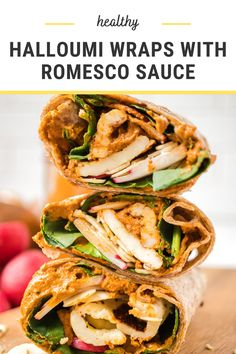 These healthy halloumi wraps are filled with salty cheese, crunchy veggies, nuts, and a show stopping sauce! One bite and you'll be hooked!  #halloumi #lunchideas #easylunch #packedlunch #wraps #wrapideas #healthylunch #halloumirecipes #halloumisandwich Smart Nutrition, Halloumi, Lunch Recipes, Family Meals, Meal Prep, Good Food, Veggies, Healthy Eating, Wraps