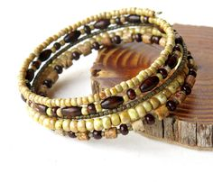 Beaded bracelet stack  5 stacking wood stone and by dalystudios, $19.00