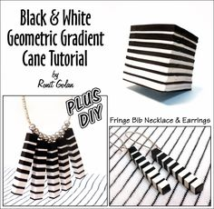 +   DIY   Fringe Bib Necklace & Earrings         You will need:  Pasta machine  Blade  Square cutter - size 4 cm/1.5 inch  1 package white ...