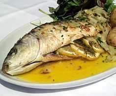 Roast Grey Mullet with Fennel and Lemon - from The Stackpole Inn, Pembroke  http://www.little-places.co.uk/recipe-roast-grey-mullet-with-fennel-and-lemon