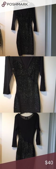 Glitter Mesh Bodycon Like new condition. Cannot model, selling for someone. Only sign of wear underneath armpit from natural pull of arm movement. All of dress that isn't glitter, is mesh fabric. (See through) Frederick's of Hollywood Dresses Mini
