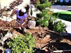 trabajando en mi jardin escabando para  construir una fuente de agua