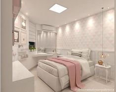 Teen girl bedrooms, makeover idea number 7782201683 for easy room decor. Cute Bedroom Ideas, Cute Room Decor, Girl Bedroom Designs, Living Room Bedroom, Home Bedroom, Bedroom Decor, Dream Rooms, Dream Bedroom, Cheap Apartment