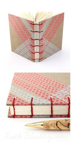 Red and gray striped washi tape journal - #bookbinding by Ruth Bleakley