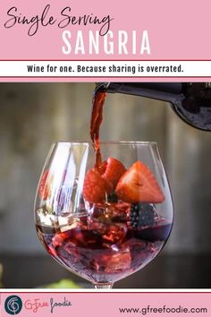 This easy Single-Serving Sangria recipe is the perfect cocktail all spring and summer long. It's mixed simply right in the wine glass. I use a California red blend or a fruit forward Zinfandel but don't be afraid to try this recipe with whatever you've got on hand. Cheers! #redwine #summer #gfreefoodie