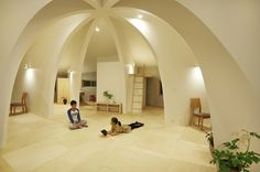 open concept japanese family home with domed interior 1 night lighting thumb 630x419 27572 Open Concept Japanese Family Home With Domed Interior