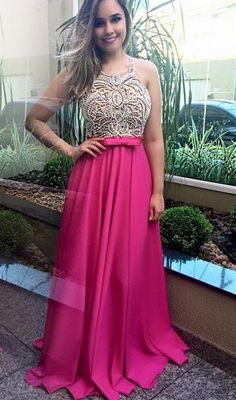 Modern Beadings Fuchsia Chiffon Prom Dress 2016 Sleevelss A-line_High Quality Wedding & Evening Prom Dresses at Factory Price-27DRESS.COM
