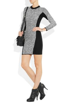 Alexander Wang | Wool-blend and rubberized-tweed mini dress | NET-A-PORTER.COM