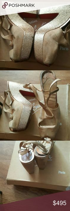 CL. Wedge shoes CL authentic shoes, used, comfortable, need repairs which Saks 5th Avenue can easily   bring to life Christian Louboutin Shoes Wedges