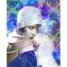 Vintage flapper goddess photomontage digital art print by VoogsArt, $24.00