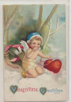 Antique Embossed Ellen Klapsaddle 1914 Baby Valentine Man in The Heart Classic   eBay