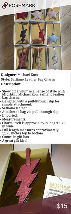 Michael Kors Saffiano leather assorted bag  CHARMS Nine different leather bag charms I have it listed to buy all of them retail $252 or you can buy them here separately or bundle a few for a discount MICHAEL Michael Kors Bags