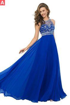 $148.99 Beading A-line Chiffon Prom Dresses 2017