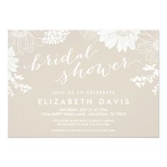 LINEN BEIGE MODERN FLORAL BRIDAL SHOWER CARD