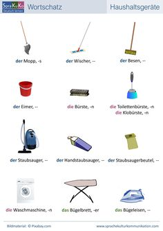 "This overview provides vocabulary on the subject of ""household appliances"". Study German, Learn German, Learn French, German Grammar, German Words, Learning Italian, Learning Spanish, Spanish Activities, Deutsch Language"