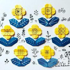 黄色いお花イッパイ。 Many yellow flowers. #origami #illustration #paperflower #papercraft #illustration #nanatakahashi #pattern #お花 #折り紙 #おりがみ #イラスト #ペーパークラフト #連続模様 #たかはしなな
