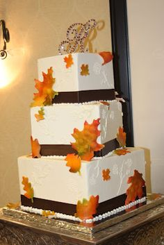 Sweet Treats by Jennifer Yeomans Christy: Fall Leaves Wedding Cake