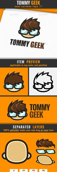 Geek Cartoon Logo Template PSD, Vector EPS, AI. Download here: http://graphicriver.net/item/geek-cartoon-logo-tommy/14485685?ref=ksioks