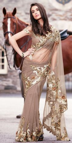 Stunning grey saree in net material |Pinned from PinTo for iPad|