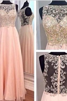 A-line Blush Pink Chiffon Prom Dresses,Beaded Bodice Long Prom Dresses,High Neck…