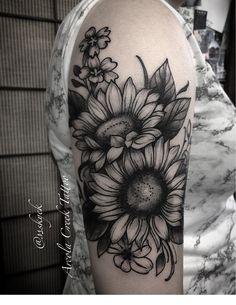8aec28371 ... #flowertattoodesigns #designs #arcolacreektattoo Sunflower tattoo  designed/tattooed by Skye Kellerman at Arcola Creek Tattoo, Madison Ohio.