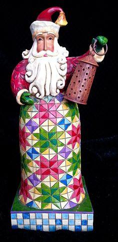 "Jim Shore Heartwood Creek ""Holiday Bright"" Santa Figurine Lantern by Enesco | eBay"