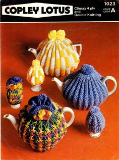 Ribbed tea cosies. We knitted these in junior school.