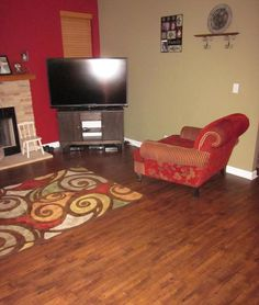 BuildDirect – Laminate - 12mm Handscraped Muskoka Collection – Gravenhurst Brown - Living Room View