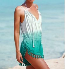 NWT Victoria's Secret Teal Ombre Tassel Romper NWT Victoria's Secret Teal Ombre Tassel Romper, Size XS, Sold out online in this color Victoria's Secret Swim Coverups