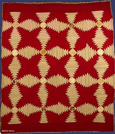 "Pineapple Log Cabin Quilt, 87"" x 74"", c.1860 - 1880"
