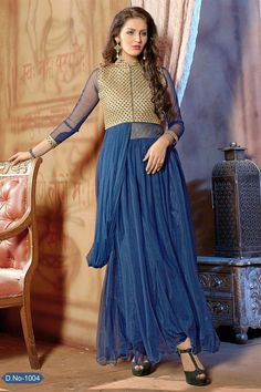 Dazzling Blue Color Party Wear Net Gown Just only RS. 2575