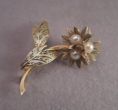Niello Gold Tone and Faux Pearl Flower Pin c1950s by thejeweledbear on Etsy