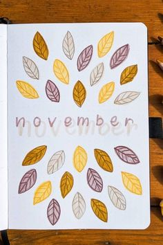 creative bullet journal monthly cover ideas for November Bullet Journal Month Cover, Bullet Journal Paper, December Bullet Journal, Creating A Bullet Journal, Bullet Journal Lettering Ideas, Bullet Journal Notebook, Bullet Journal Aesthetic, Bullet Journal Inspo, Bullet Journal Ideas Pages