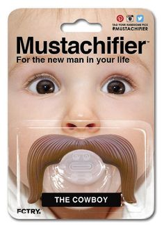 Super cute baby shower gift - the cowboy mustach pacifier!