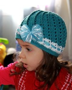 Fall or Spring Crocheted hat for girls with bow by 1girlygirl1, $30.00