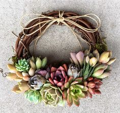 "S 8"" Succulent Echeveria Wreath, Grapevine with jewel tones. Special Delivery week of Mothers Day!"