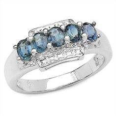 1.30 Carat Genuine Blue Sapphire Sterling Silver Ring -