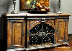 Hand painted furniture with iron.. Earthenware Decoration.. Large Colorful Wall Art..  so Mediterranean. ~ at Accents of Salado